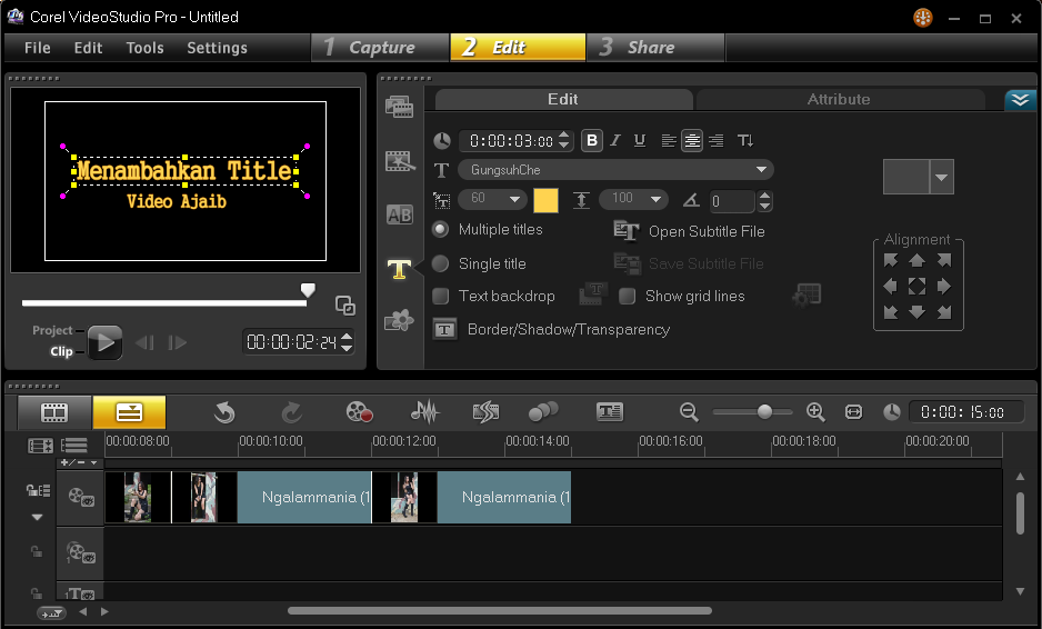 Menambahkan Title Video Pada Corel Video Studio 4