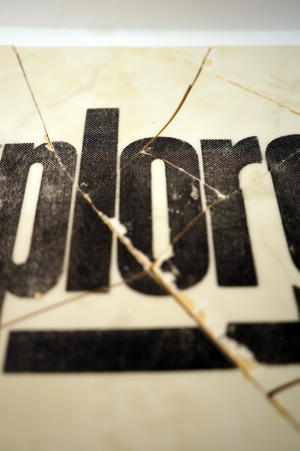 logo, graphic design, explore, fragment, screen print, half tone, design, urbex, tile, experiment, mmu, arrow, fragments, details, urban, exploration, travel, adventures, history, letterpress, found objects, manchester
