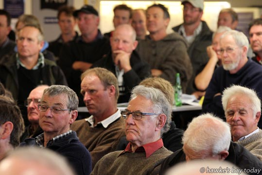 "About 200 farmers and interested parties crammed into the Havelock North Club, Havelock North, for ""By Farmers for Farmers"", a meeting of farmers feeling over-regulated by WorkSafe health and safety regulations, discussing the Health and Safety Reform Bill. photograph"