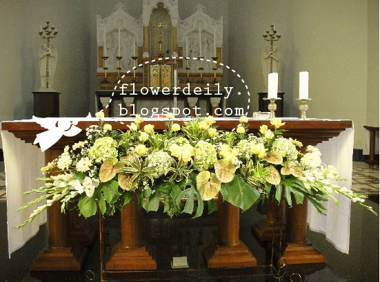 Wedding church d cor green yellow theme flower daily blog for Altar decoration wedding