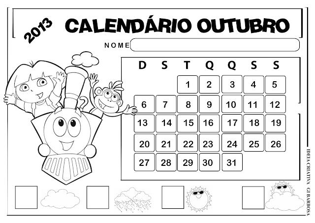 Calendários Outubro Paisagem Dora Aventureira