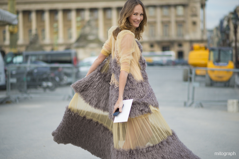 mitograph Margarita Lieva wearing Anna Galaganenko dress Before Valentino Paris Fashion Week 2013 2014 Fall Winter PFW Street Style Shimpei Mito