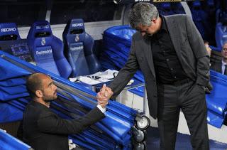 Saludo entre Pep Guardiola y Jose Mourinho