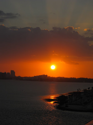 absolutely gorgeous, dark red, key biscayne sunset over biscayne bay