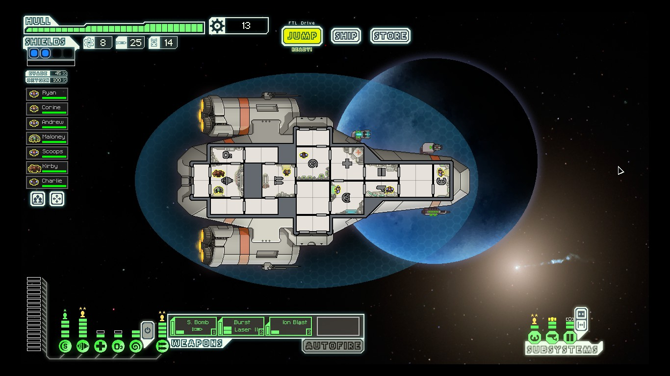 screenshot of my FTL ship and crew at the time of writing this blog