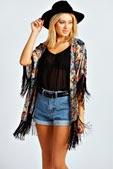 Amanda Ethnic Print Full Fringe Kimono