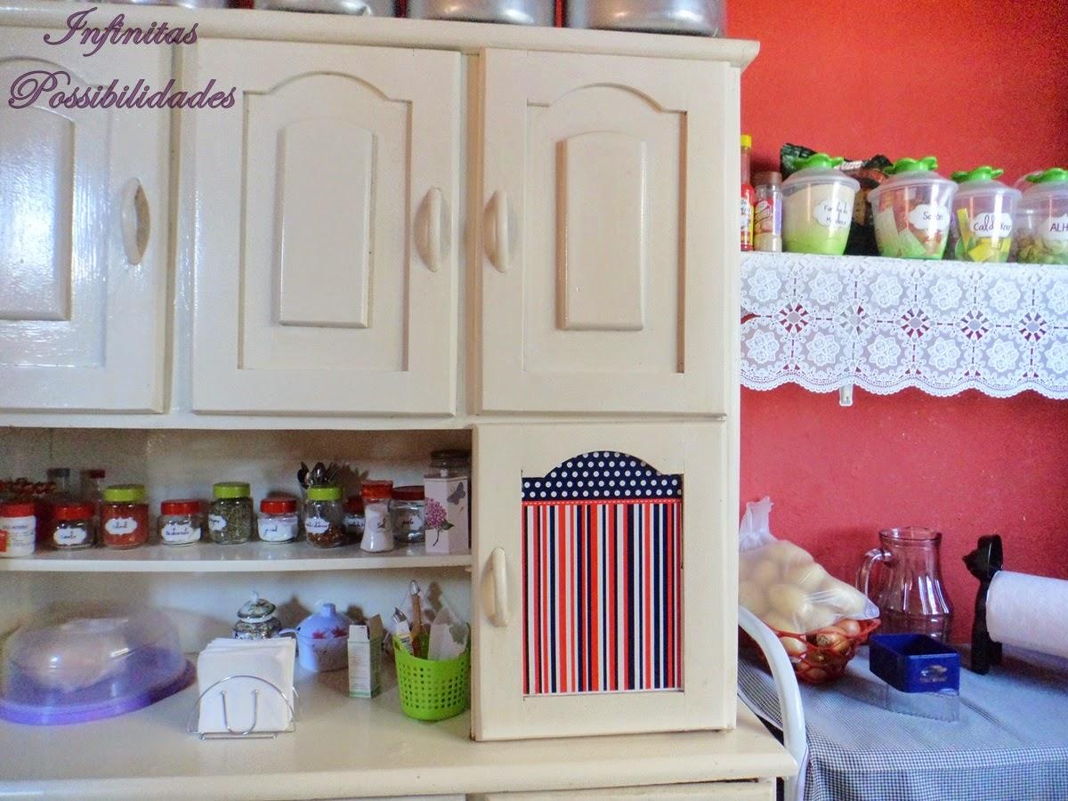 Armario de cozinha reformado com papel contact v rios desenhos sobre id ias de - Como forrar un armario por dentro ...