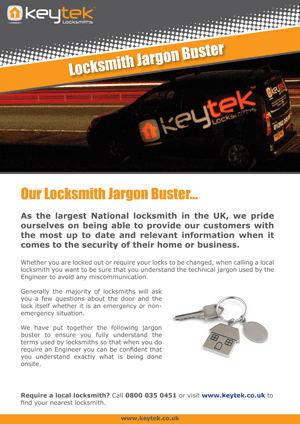 Locksmith Jargon Buster from Keytek Locksmiths