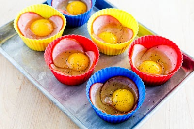 Baked Eggs in Canadian Bacon Cups found on KalynsKitchen.com