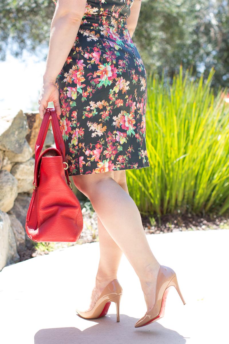 custom PIOL floral dress, christian louboutin pigalle heels