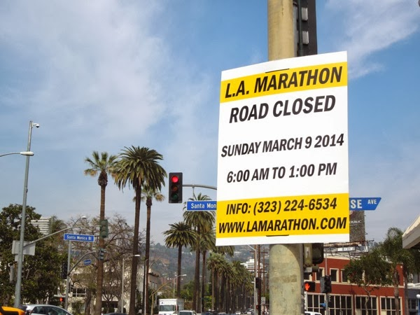 LA Marathon 2014 road closure sign