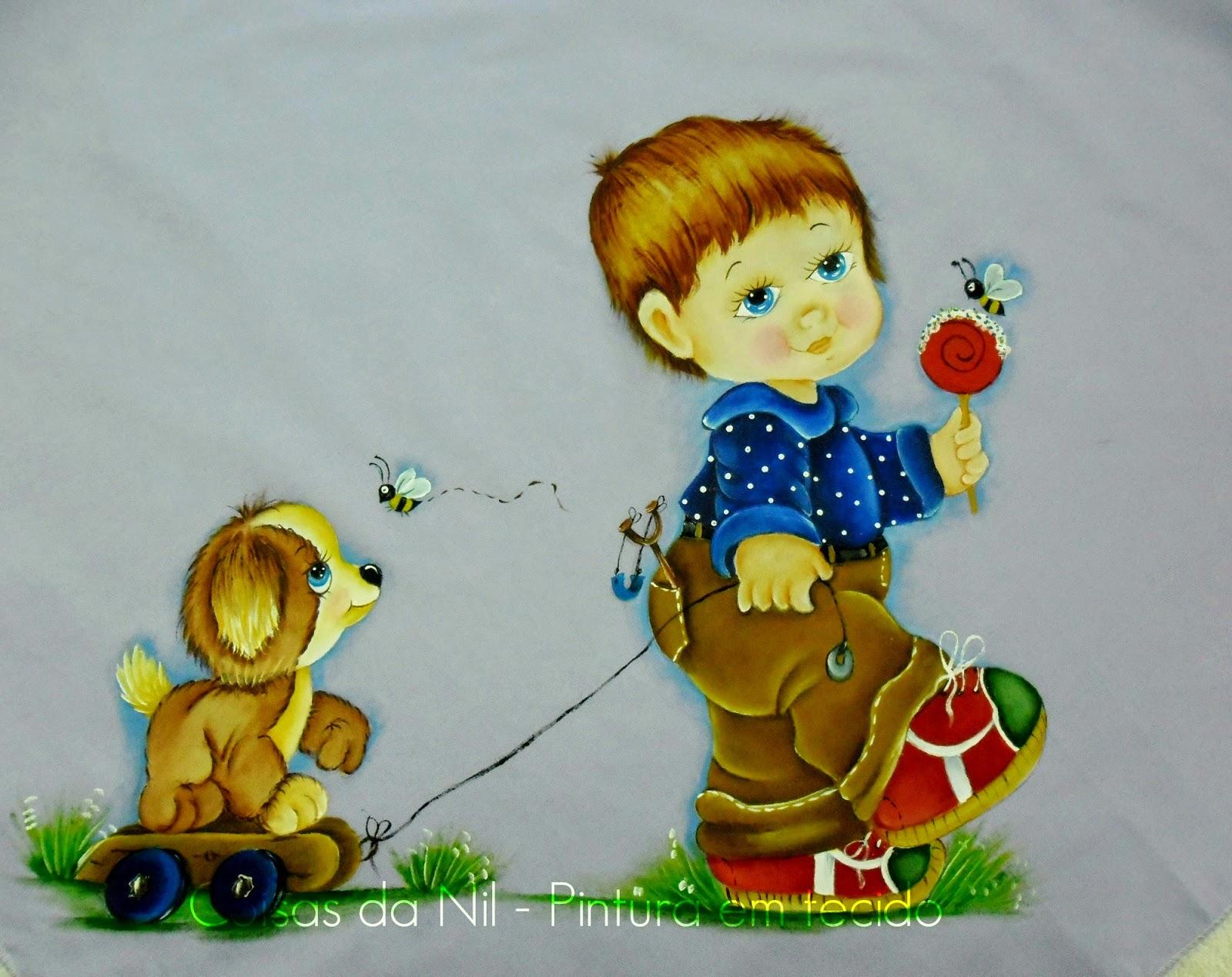 pintura em tecido manta com menino chupando pirulito enquanto puxa carrinho com cachorro
