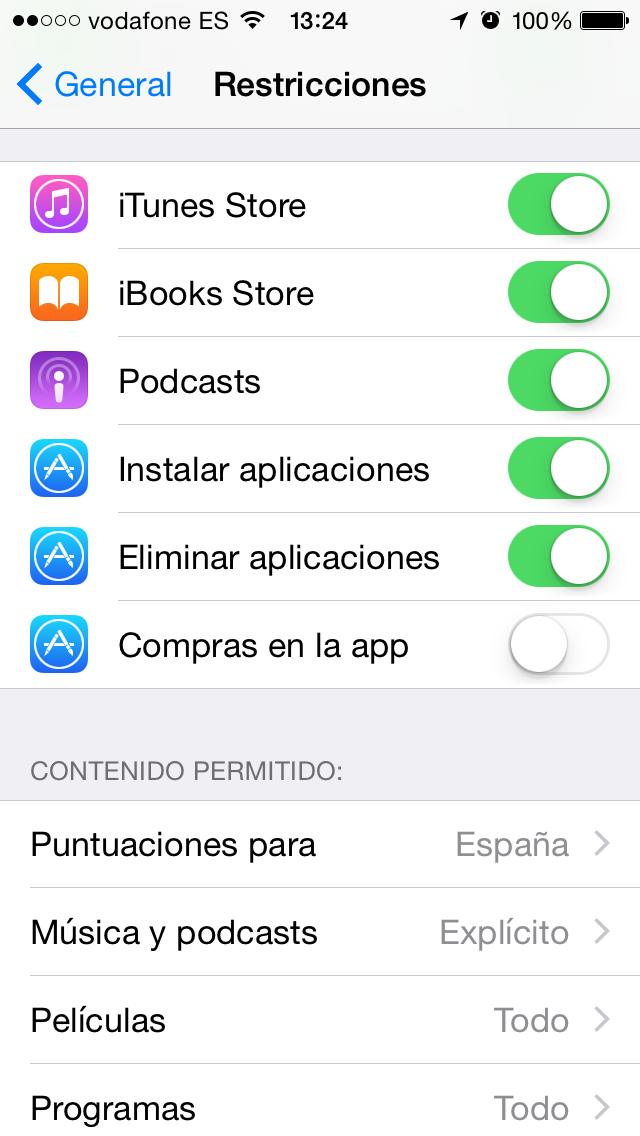 Quitar Compras en Apps - Desactivar