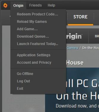 how to open origin in game menu