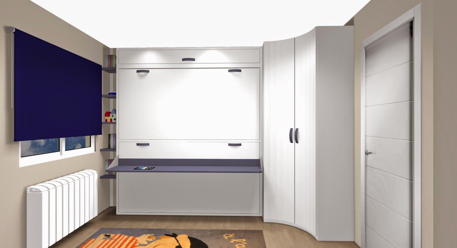 dormitorio juvenil pequeo con literas abatibles estantes acoplados en un hueco que nos queda y armario de en blanco y azul