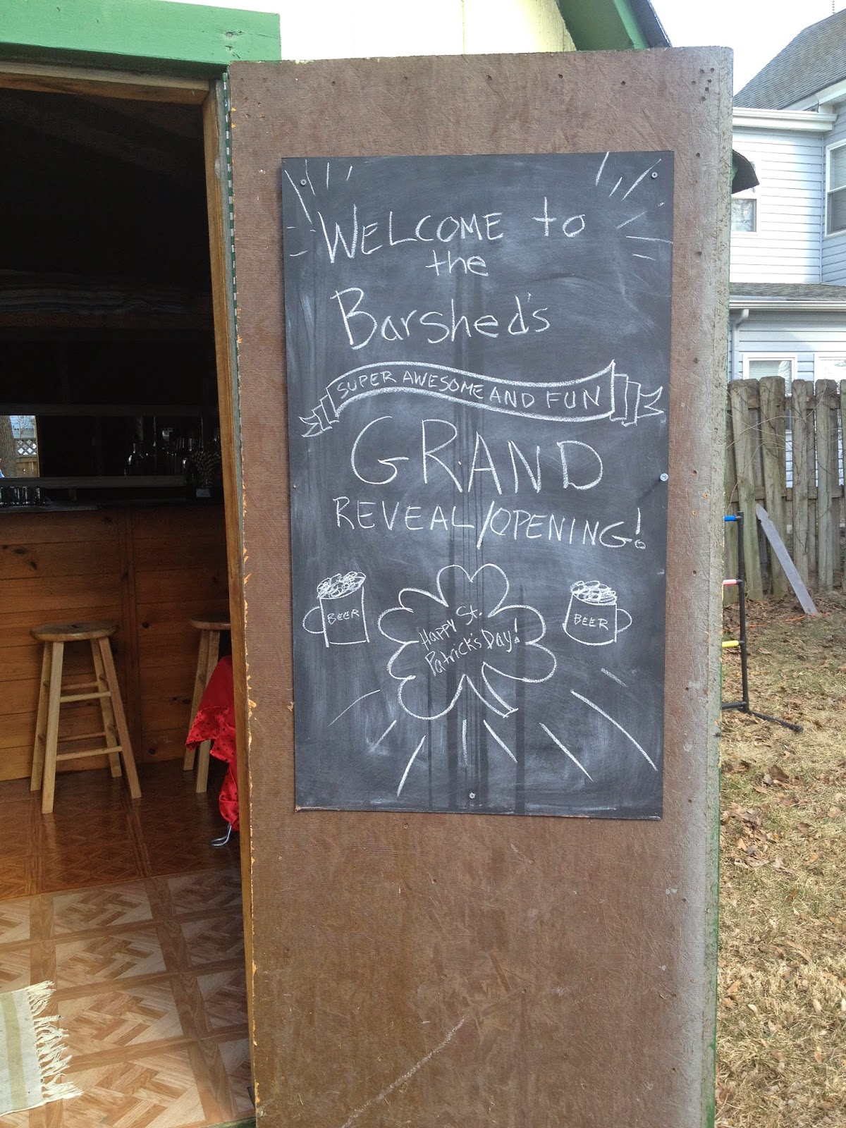 the barshed: shed into bar- chalkboard on door