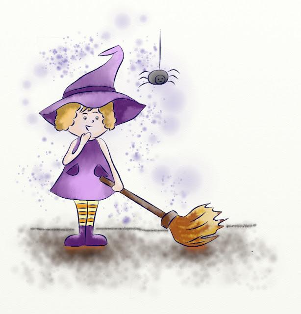 illustration numérique représentant une sorcière toute de mauve vétue, réalisée par Florence Gobled, auteur de livres pour enfants et illustrateur jeunesse à Autun en Bourgogne
