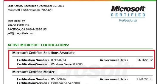 Mcse resume 2008