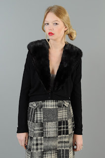 Vintage 1950's black cashmere cropped cardigan with mink fur collar.