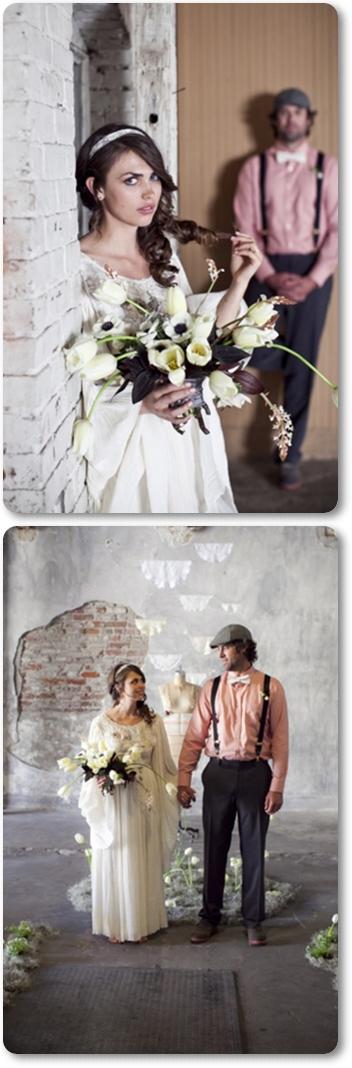 vintag wedding, brudbukett vita tulpaner
