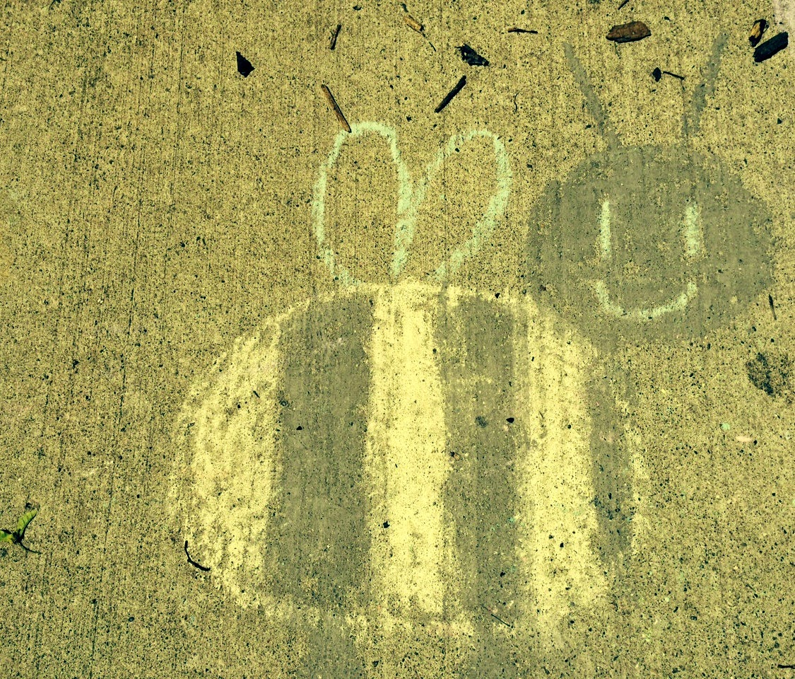 sidewalk chalk art of a bee