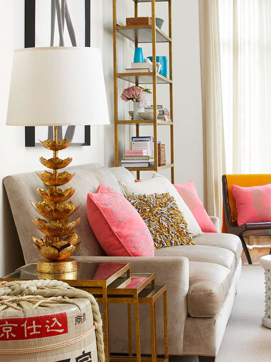 Bubblegum pink and gold combo t a n y e s h a - Pink and gold living room ...