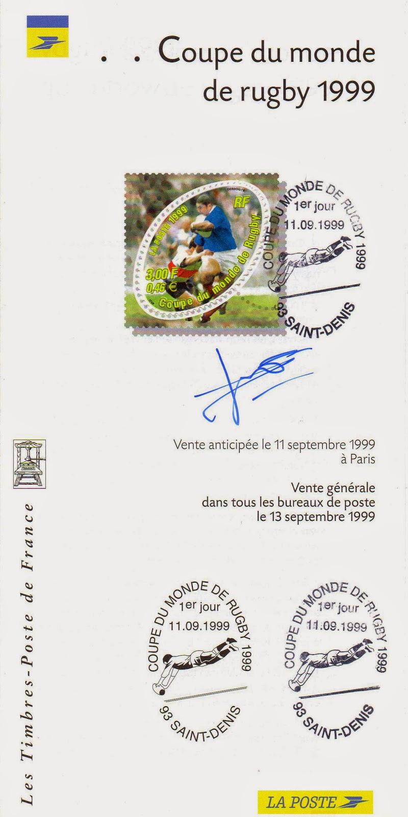 Artistes et cr ateurs de timbres documents philat liques sign s 1999 - Rugby coupe du monde 1999 ...