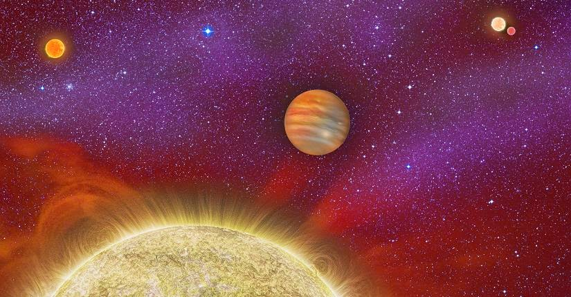 This artist's conception shows the 30 Ari system, which includes four stars and a planet. Image Credit: Karen Teramura, UH IfA