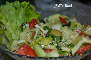 cucumber, olive, tomato, iceberg, parsley, lemon