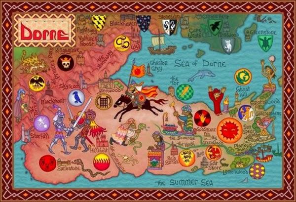 """Mapa de la tierra de Dorne, """"Juego de Tronos"""""""