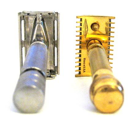 Deux rasoirs Gillette : Rocket HD et Old type doré