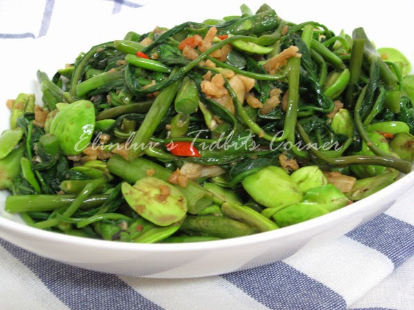 stir fry water convolvulus , long beans,  stink. beans with dried shrimps