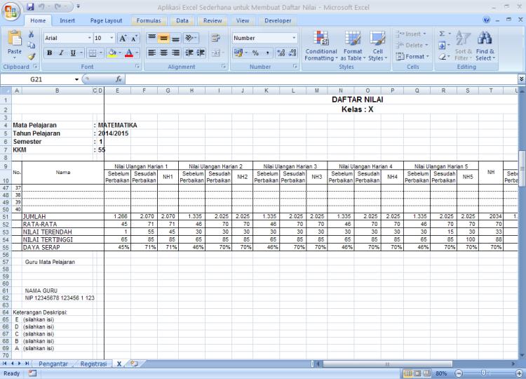 Entri Data - Aplikasi Sederhana untuk Membuat Daftar Nilai dengan Microsoft Excel