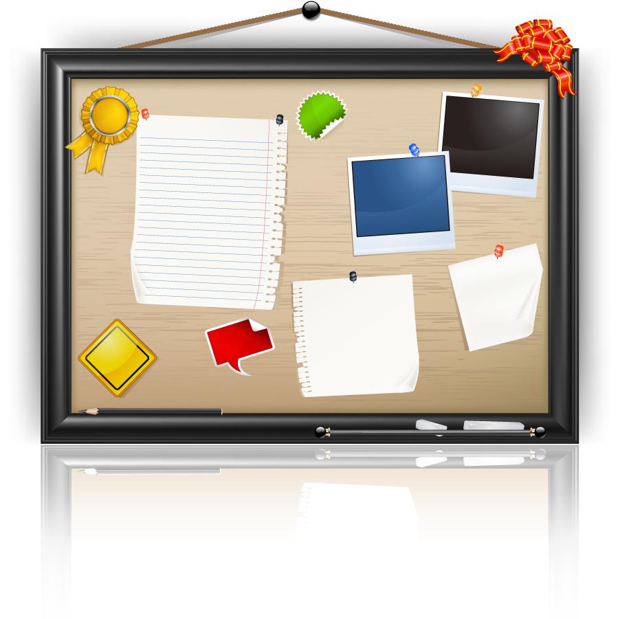 メモを貼った掲示板のクリップアート Bulletin board vector イラスト素材