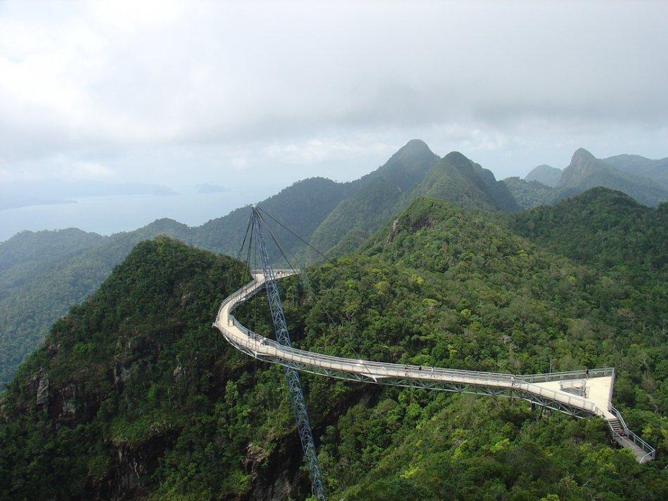 langkawi, pulau langkawi, malaysia, suspended, hanging, bridge, sky ...