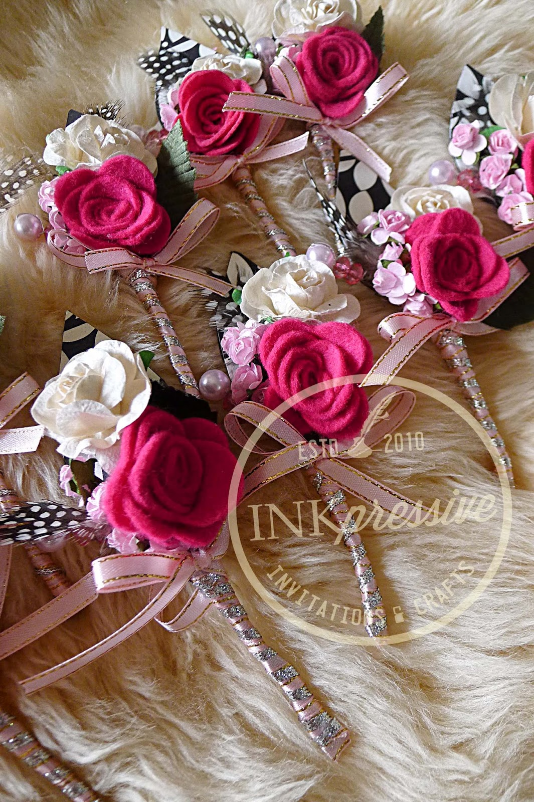 Inkpressive invitations diy party accessories felt paper roses feathers beads ribbon mightylinksfo
