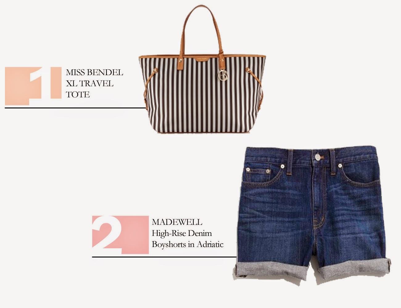 1. Henri Bendel MISS BENDEL XL TRAVEL TOTE // 2. Madewell High-Rise Denim Boyshorts in Adriatic