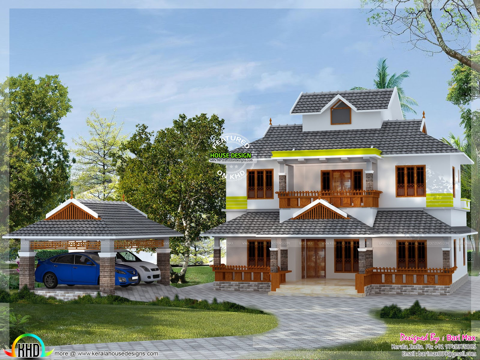 2500 sq ft slop roof home kerala home design and floor plans for 2500 sq ft house plans in kerala