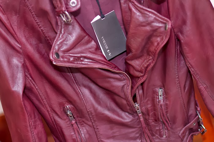 Oxblood Muubaa Leather Biker Jacket
