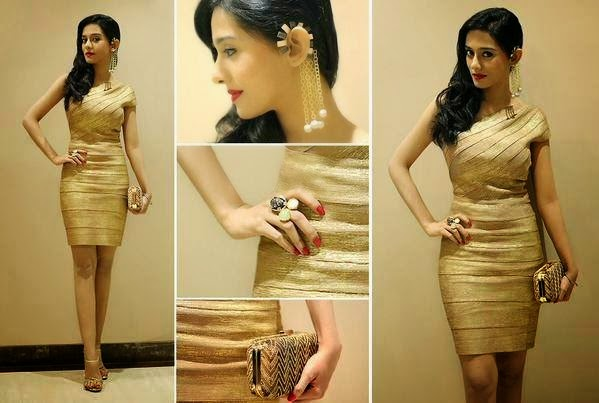 Amrita Rao in Golden Mini-dress