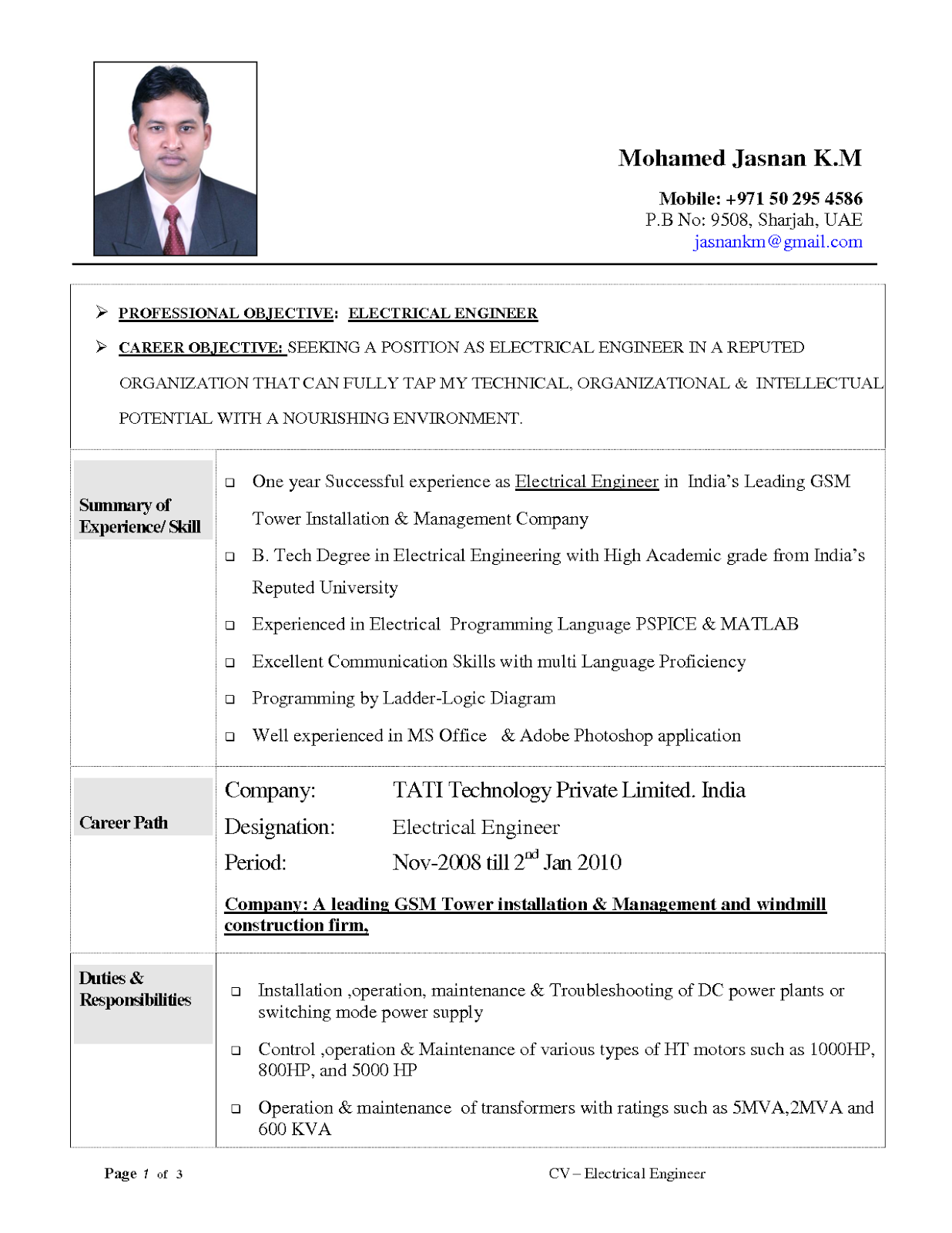 Power distribution engineer resume sample