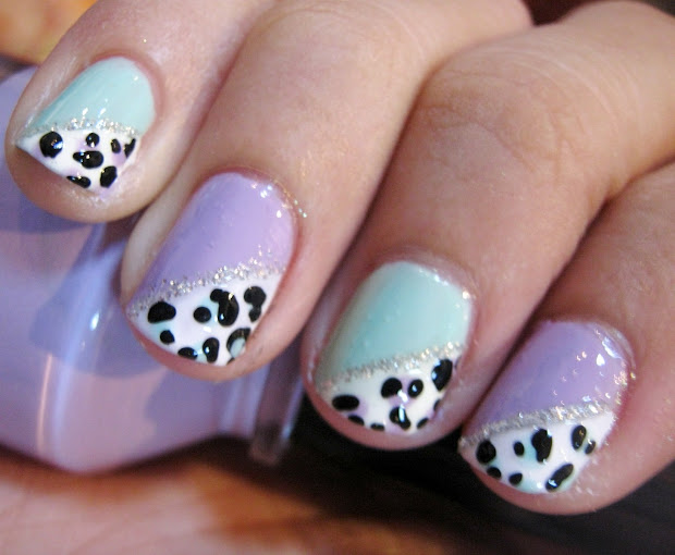 nail tutorial simple pastel leopard
