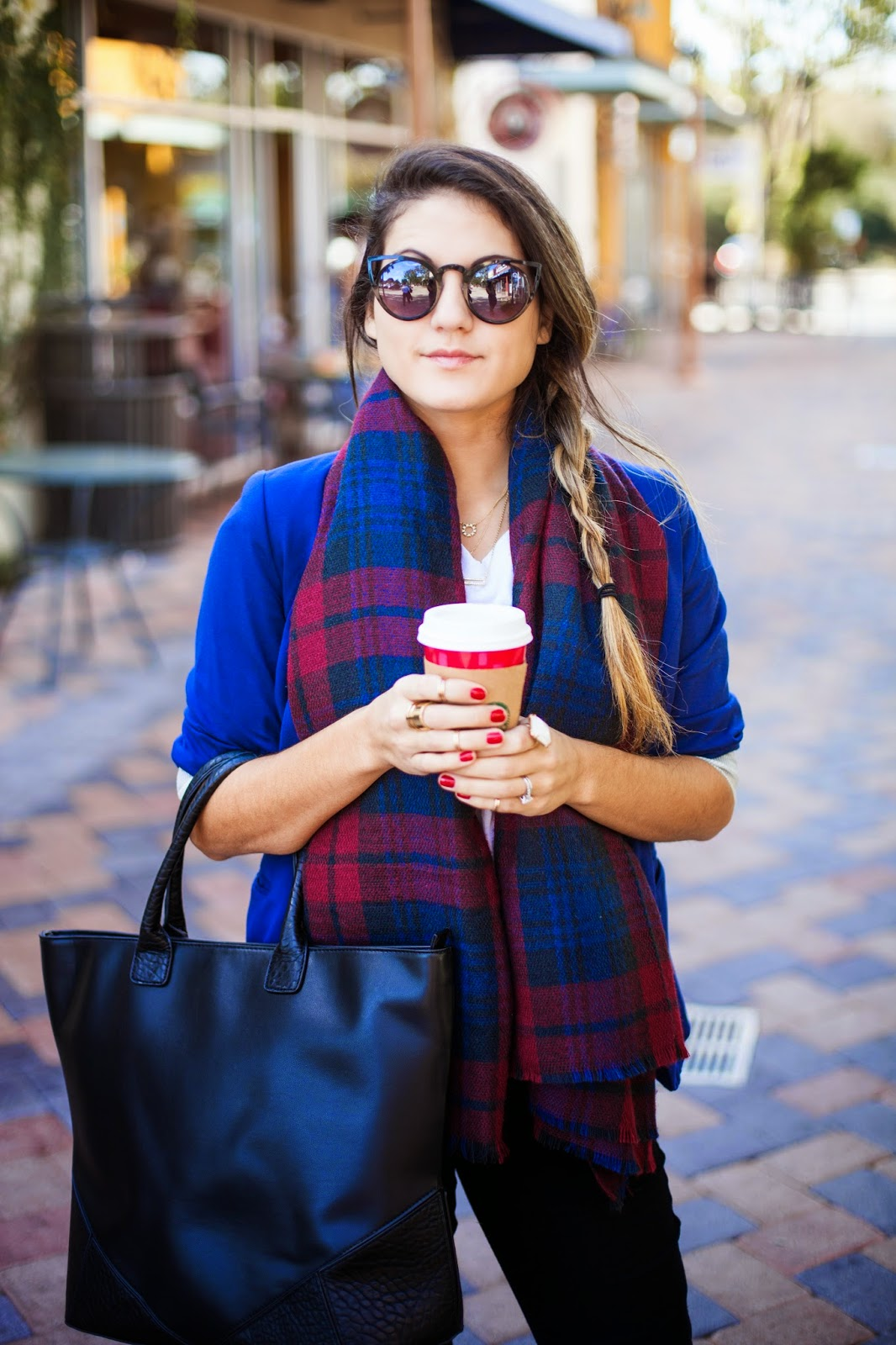 blue blazer and plaid scarf
