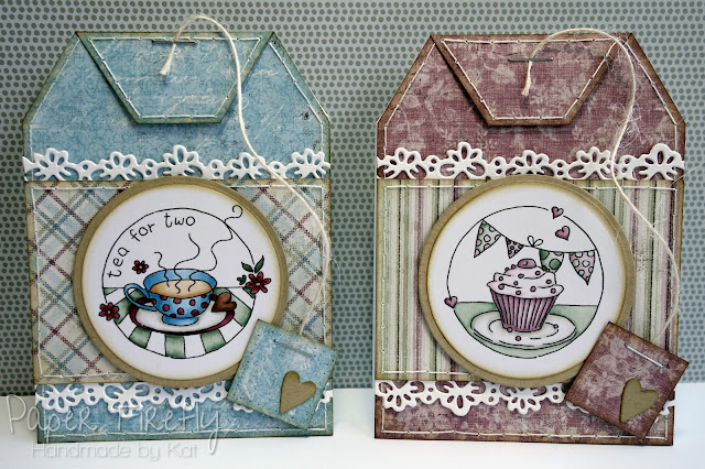 Teabag shaped cards with LOTV Tea for two stamps