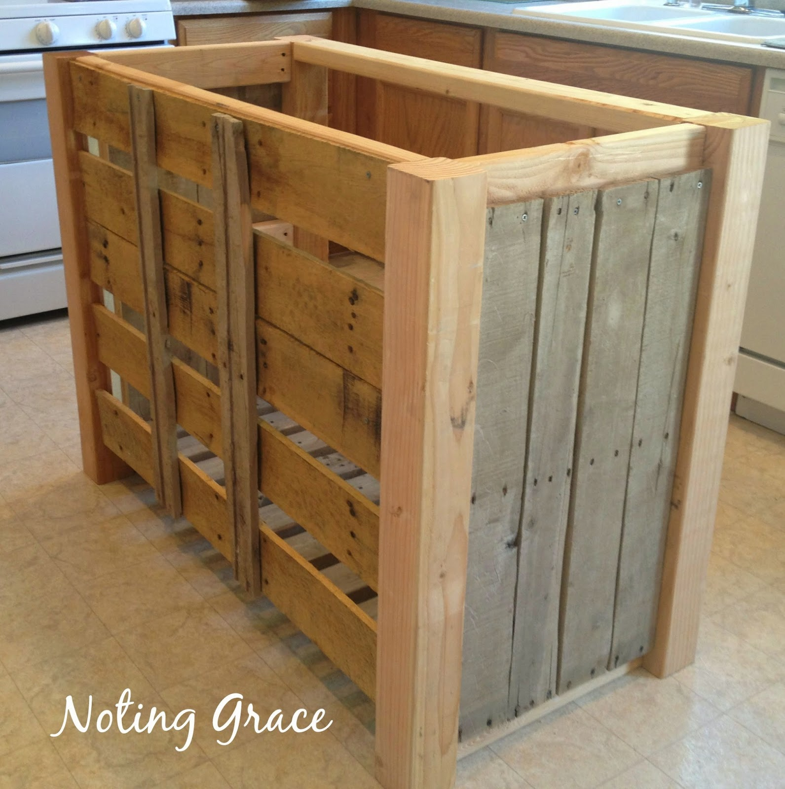 Noting grace diy pallet kitchen island for less than 50 for Make a kitchen island out of pallets