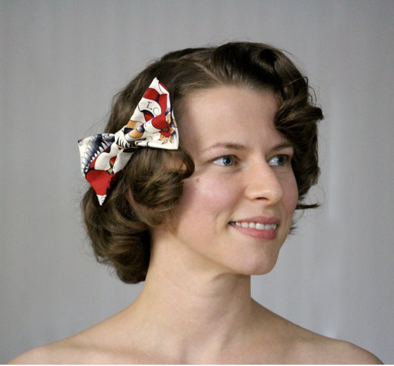 "Rockabilly Hair Bow ""Paging Bettie"" #rockabilly #pinup #retro #tattoo #bettie"