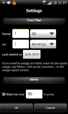 3G watchdog: Specifying the data plan details