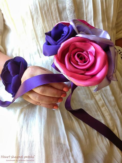 Bouquets damas de honra em tecido