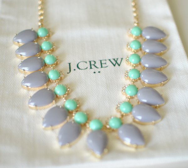 j.crew grey and turquoise necklace