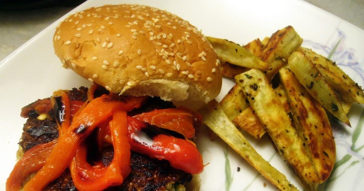 almostveg: Quinoa burger with sweet potato fries